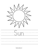 Sun Handwriting Sheet