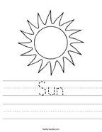 Sun Handwriting Sheet