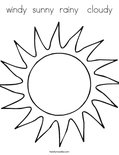 windy  sunny  rainy   cloudyColoring Page