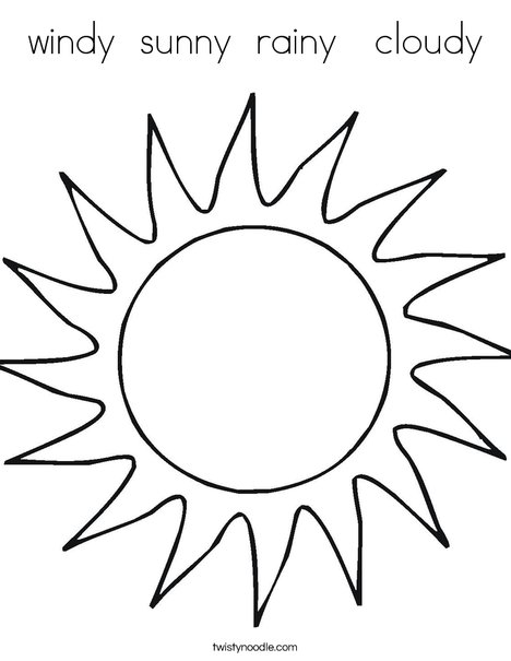 Line Drawing Sunny Day : Windy sunny rainy cloudy coloring page twisty noodle