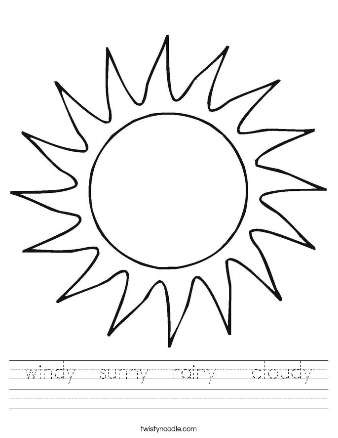 windy  sunny  rainy   cloudy Worksheet