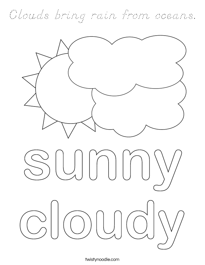 Clouds bring rain from oceans. Coloring Page