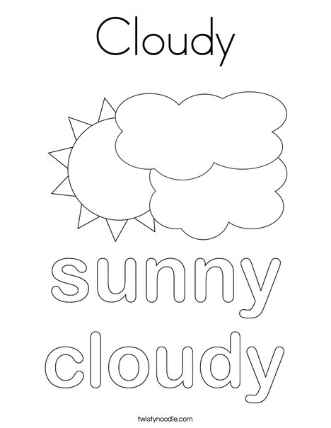 Sun with Clouds Coloring Page
