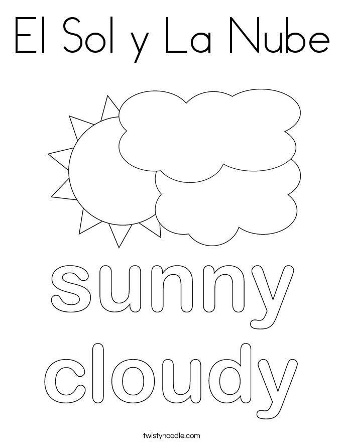 El Sol y La Nube Coloring Page
