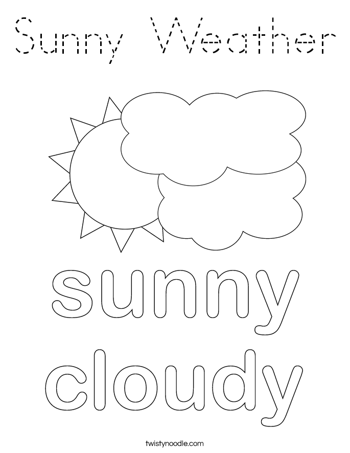 Sunny Weather Coloring Page Tracing