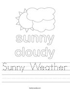 Sunny Weather Handwriting Sheet