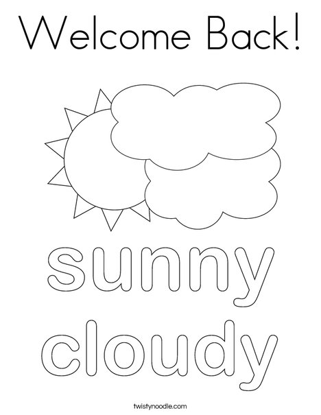 sun with clouds coloring page - Welcome Back Coloring Pages