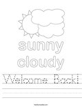 Welcome Back! Worksheet