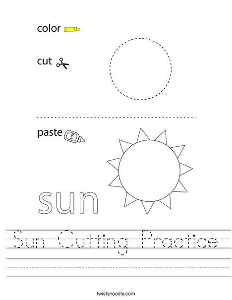 Sun Cutting Practice Worksheet