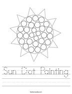 Sun Dot Painting Handwriting Sheet