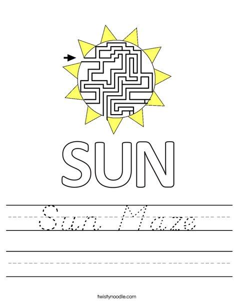 Sun Maze Worksheet