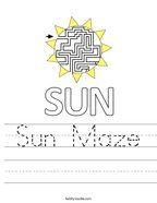 Sun Maze Handwriting Sheet