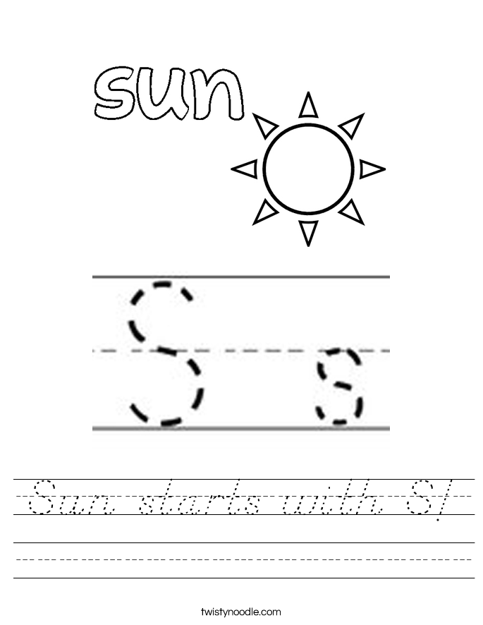 Sun starts with S! Worksheet