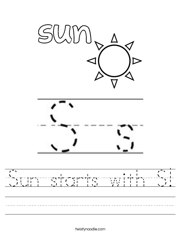 Sun starts with S Worksheet Twisty Noodle – Sun Worksheet