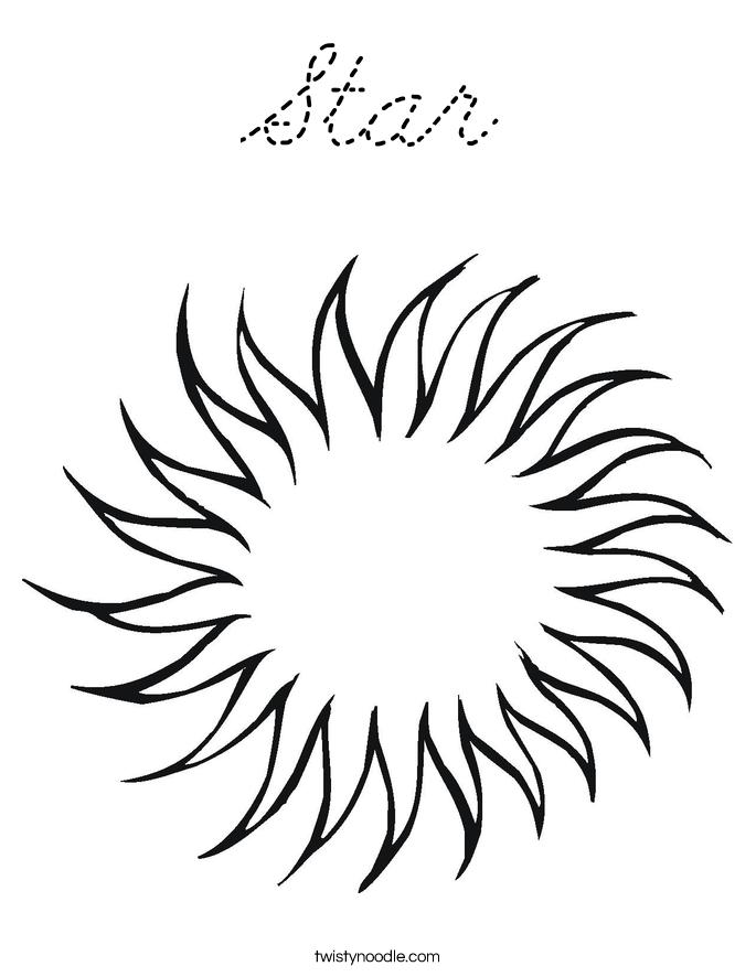 Cursive s coloring pages ~ Star Coloring Page - Cursive - Twisty Noodle