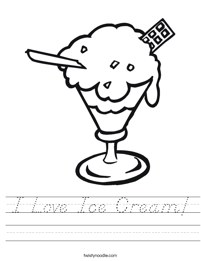 I Love Ice Cream! Worksheet