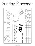 Sunday Placemat Coloring Page