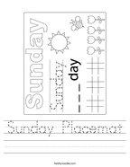 Sunday Placemat Handwriting Sheet