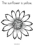 The sunflower is yellow. Coloring Page