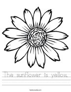 The sunflower is yellow Handwriting Sheet