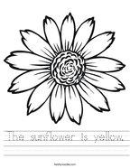 The sunflower is yellow Handwriting Sheet
