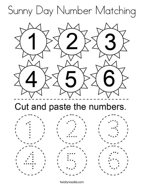 Sunny Day Number Matching Coloring Page