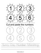 Sunny Day Number Matching Handwriting Sheet