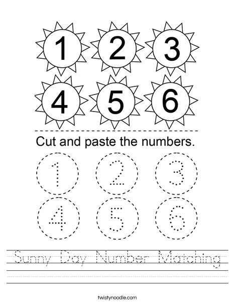 Sunny Day Number Matching Worksheet