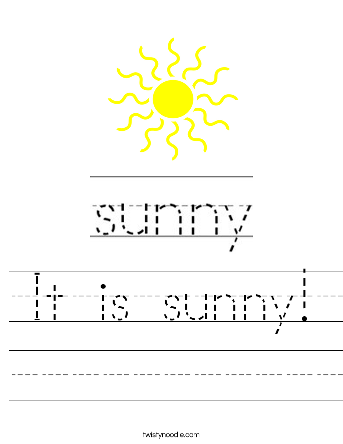 It is sunny! Worksheet