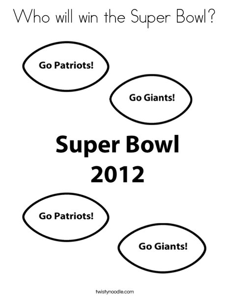 Super Bowl 2012 Coloring Page