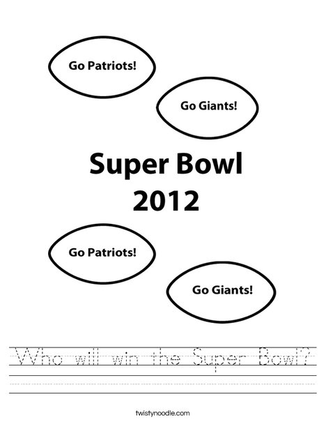 Super Bowl 2012 Worksheet