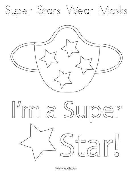Super Stars Wear Masks! Coloring Page
