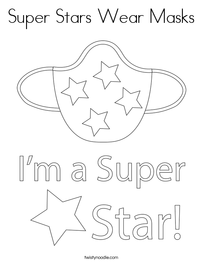 Super Stars Wear Masks Coloring Page