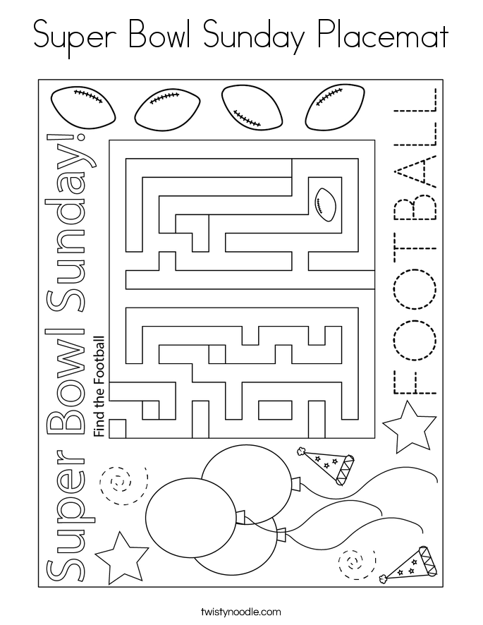 Super Bowl Sunday Placemat Coloring Page