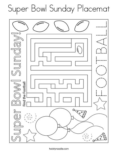 Superbowl Sunday Placemat Coloring Page