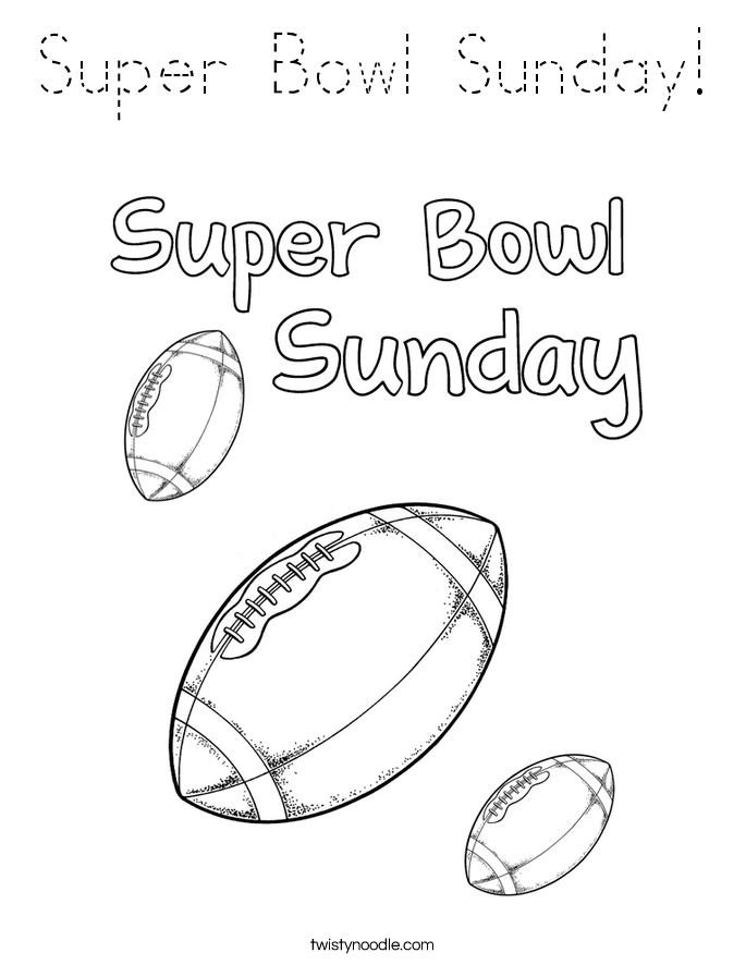 Super Bowl Sunday Coloring Page - Tracing - Twisty Noodle