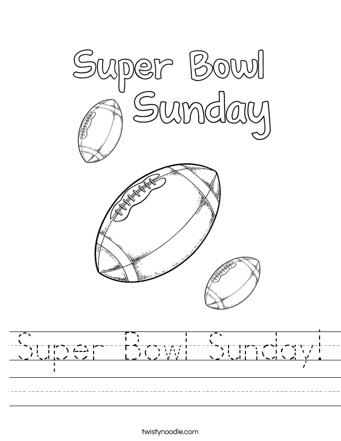 Super Bowl Sunday! Worksheet