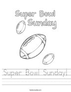 Super Bowl Sunday Handwriting Sheet