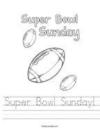 Super Bowl Sunday Handwriting Sheet
