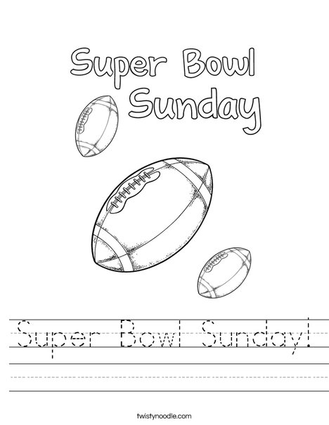 Superbowl Sunday Worksheet
