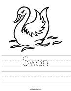 Swan Handwriting Sheet