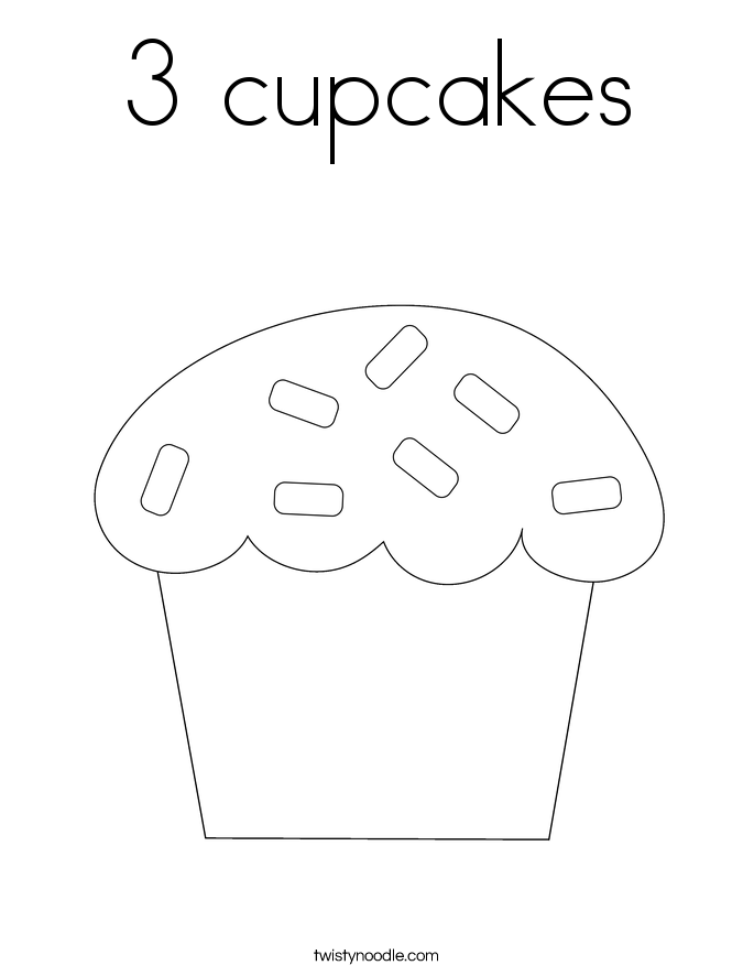 3 cupcakes Coloring Page