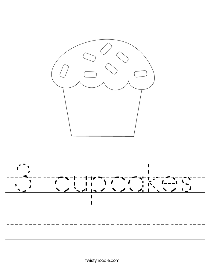 3 cupcakes Worksheet