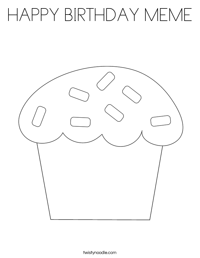 HAPPY BIRTHDAY MEME Coloring Page