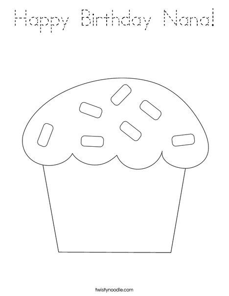 happy birthday nana coloring page - happy birthday nana coloring page tracing twisty noodle