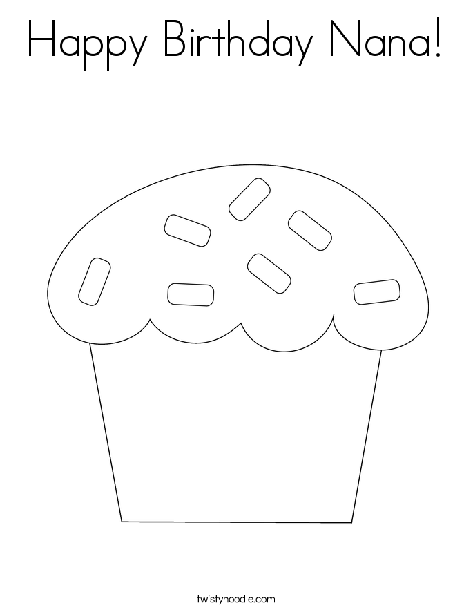 Happy Birthday Nana Coloring Page