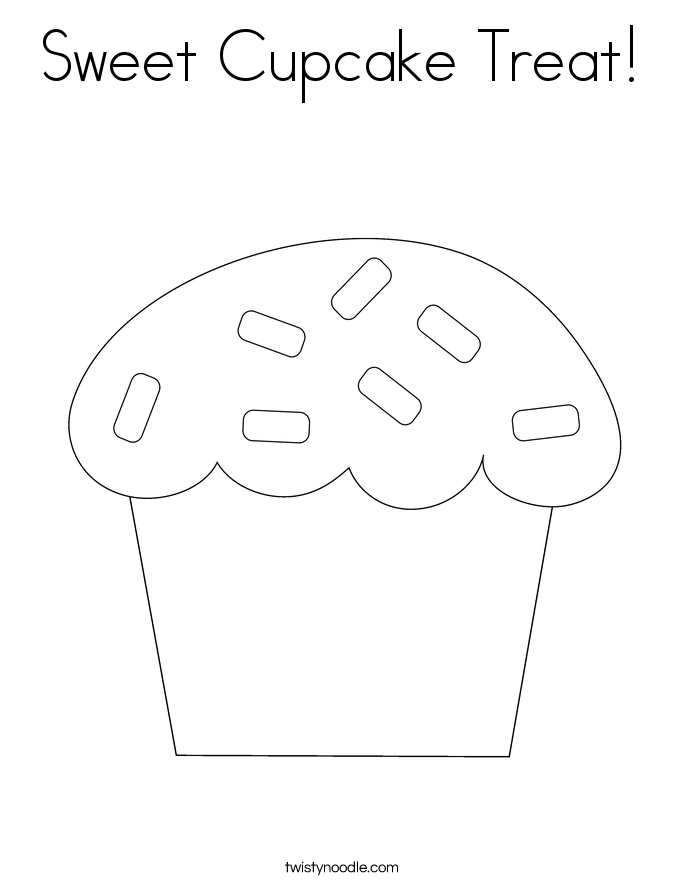 Sweet Cupcake Treat! Coloring Page