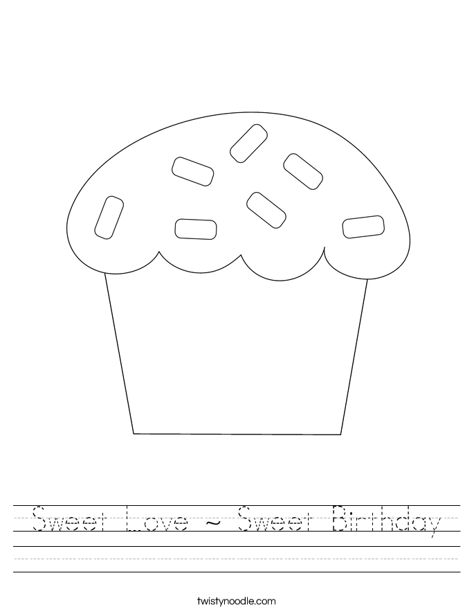 Sweet Love ~ Sweet Birthday Worksheet