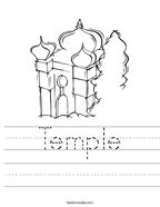 Temple Handwriting Sheet