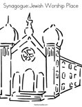 Synagogue:Jewish Worship Place Coloring Page
